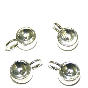 4 x 10mm silver plated charm carrier - S.F10 - WC037 - 2502138